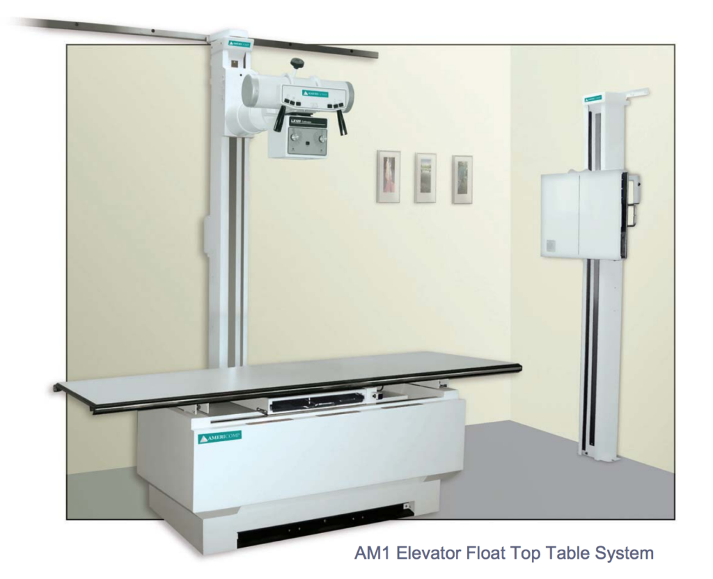 An X-ray machine is suspended over a patient table, and there is a wall mounted X-ray machine in this radiology room. When purchasing an X-ray machine, price is important, but it isn't the only factor.