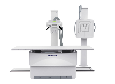 Digital X-ray equipment, including a patient table and a receptor panel, are pictured against a white background. Digital radiography is a good choice if you're upgrading to new X-ray equipment.